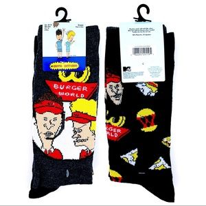 🆕 MTV Beavis and Butthead Retro 90s Crew Socks
